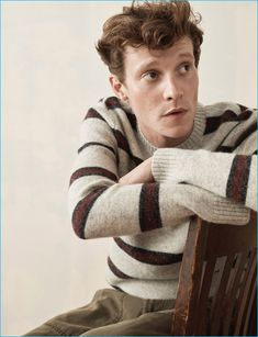 Model Matthew Hitt dons a striped sweater for Abercrombie & Fitch's holiday 2016 advertising campaign.