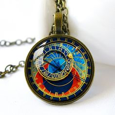Retro+Style+Handmade+Glass+Dome+Necklace,+Astronomical+Clock,+C-033