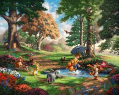 Title: Winnie The Pooh I Collection: Disney Collection Painted: 2013 Published: 2013 Style: Narrative Panorama Artist: Thomas Kinkade