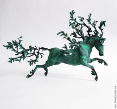 Green Plant Horse Skulpture Figurine Art by DemiurgusDreams