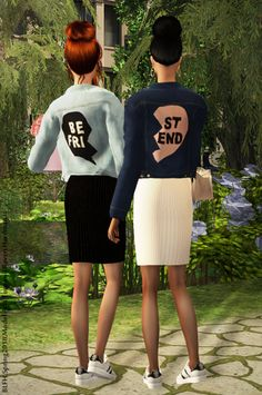 "nikaonishko: "" Two looks for the best friends of girls! ♥ @aklira @alwayssims2 thanks for the mesh! Download:• 1 http://simfileshare.net/download/490670/ • 2 http://simfileshare.net/download/490669/ "" Awww"