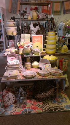 New Soleil from Le Creuset. at Cultivate Home Sebastopol, Ca Le Creuset Visual Merchandising Displays, Visual Display, Shop Window Displays, Store Displays, Retail Displays, Antique Booth Displays, Inside Shop, Home Goods Store, Kitchen Shop