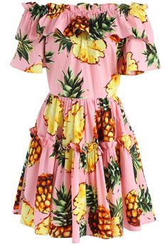 Swing with Pineapple Off-shoulder Dress in Pink- New Arrivals - Retro, Indie and Unique Fashion
