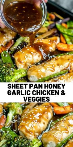 one pan dinners chicken Sheet Pan Honey Garlic Chicken and Veggiesis a mix of tender chicken and vegetables coated in a sweet honey garlic sauce and baked on one pan for a quick and easy dinner. Veggie Recipes, Healthy Dinner Recipes, Asian Recipes, Cooking Recipes, Chicken Recipes, Honey Garlic Sauce, Honey Garlic Chicken, Chicken And Vegetables, Veggies