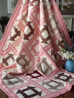 Beautiful Fabrics! ANTIQUE c1870 Churndash QUILT EARLY EARLY 69x69""