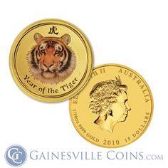 2010 Perth Mint 1/10 oz Gold Tiger (Enameled) .9999 Fine http://www.gainesvillecoins.com/buy-gold.aspx