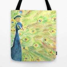 Peacock. Watercolor, colored pencil, art, painting, bird, feathers, plumage, green, blue, tote bag, shoulder bag. See society6 for size.