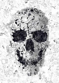 Ele gosta de expressar sua criatividade com crânios humanos imaginados a partir de muitas técnicas diferentes, passando por ilustração, fotografia, pintura ou colagem.