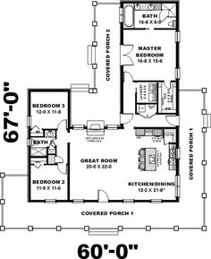 This lovely Ranch style home with Country influences (House Plan has 1717 square feet of living space. The 1 story floor plan includes 3 bedrooms. Country Style House Plans, Cottage House Plans, Cottage Homes, House Floor Plans, Cottage Style, Southern Farmhouse, Farmhouse Plans, Southern Style, Farmhouse Style