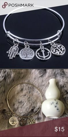 WIRE BANGLE CHARM BRACELET Alex and Ani style bracelets. Silver tone expandable wire adjustable bracelet. Bracelet diameter is about 7cm. Has an anchor, tree of life and hamsa charm.. ANCHOR- a symbol of stability, hope, and peace; allows us to keep a clear mind amidst the tides of life. TREE OF LIFE- represents unlimited growth and sacred knowledge. HAMSA- a defense against negative energy, deflecting the gaze of the evil eye away from the wearer. Alex & Ani Jewelry Bracelets