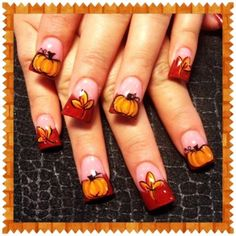 Superb Fall leaves and Pumpkins Nails Art Designs - 2014 Thanksgiving Nails Stickers