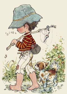 The Garden of Dreams: Tender Images of Sarah Kay Sarah Key, Holly Hobbie, Gone Fishing, Australian Artists, Digi Stamps, Illustrations, Cute Illustration, Vintage Children, Cute Art