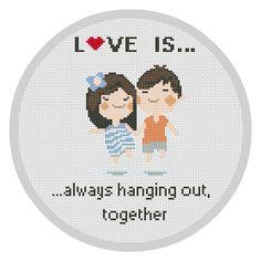 LOVE IS...Cross Stitch Pattern PDF Counted cross stitch pattern Emoji Just Married Couple Wedding gift customizable pattern Modern X083