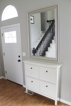 Ikea HEMNES shoe cabinet for entryway Ikea Hemnes Shoe Cabinet, Ikea Mirror, Ikea Hemnes Mirror, Floating Cabinets, Small Hallways, Apartment Living, Interior Design Living Room, Home And Living, Small Spaces