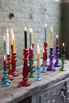 Kim Timmerman. Candles. Colourful Glass. Candle sticks. Interior. www.origin-of-style.com