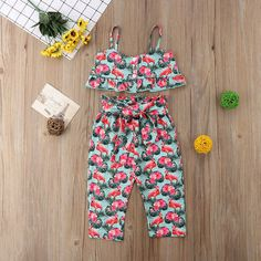 Fashion Baby Girls Kids Flamingo Outits Clothes& We will try our best to reduce the risk of the custom duties. Girls Summer Outfits, Little Girl Outfits, Little Girl Fashion, Toddler Outfits, Kids Fashion, Baby Outfits, Dress Outfits, Floral Pants Outfit, Floral Outfits