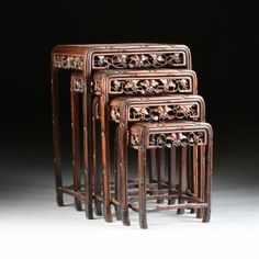 """~ A SET OF FOUR CHINESE CARVED HARDWOOD """"GRAPEVINE AND ~ liveauctioneers.com"""