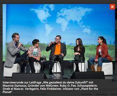 """On the Panel auf dem Tag der Talente vom Bundesbildungsministerium. Interviewrunde zur Leitfrage """"Wie gestaltest du deine Zukunft?"""" mit Maurice Stanszus, Gründer von WeGreen, Ruby O. Fee, Schauspielerin, Sineb el Masrar, Verlegerin, Felix Finkbeiner, Initiator von """"Plant for the Planet"""" http://www.plant-for-the-planet.org/de/  http://www.we-do.com/referenzen/tag-der-talente/#prettyPhoto[group334]/2/"""