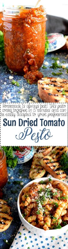 A homemade Sun Dried Tomato Pesto that is so much better than store-bought. Jarred tomatoes, good olive oil, fresh basil and parmesan cheese – a marriage made in food heaven! #sundried #tomatoes #pesto #sauce