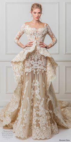 maison yeya 2017 bridal three quarter sleeves illusion jewel off the shoulder full embellishment peplum ivory elegant glamourous lace a line wedding dress full lace back royal train (1) mv #weddinggowns