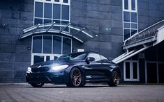 Download wallpapers BMW M4, 2017, black sports coupe, black m4, tuning M4, bronze wheels, LED, F83, BMW