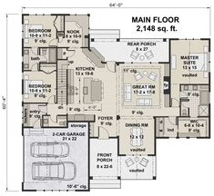 Find your dream modern-farmhouse style house plan such as Plan which is a 2148 sq ft, 3 bed, 2 bath home with 2 garage stalls from Monster House Plans. Cottage House Plans, Craftsman House Plans, Dream House Plans, House Floor Plans, Farm House, Craftsman Homes, Craftsman Style, Modern Farmhouse Plans, Farmhouse Style