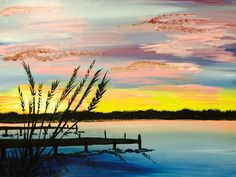 Paint Nite Sunset Dock Painting