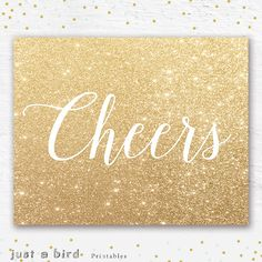 Cheers party PRINTABLE art print 8x10 gold by Justabirdprintables