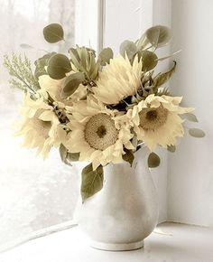 Sunflower Photograph, Still Life Floral Wall  Decor, Botanical Print, Shabby Chic, Yellow Flower Photography. $17.00, via Etsy.