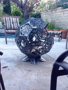 3d fire pit firepit fireplace fire place made from cnc cut steel octagon plates welded together into a ball. Pic 1