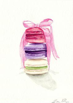 SALE Macarons Tied with a Pink Bow ORIGINAL door LauraRowStudio