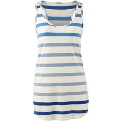 Wide Stripe Tank CAbi ❤ liked on Polyvore featuring tops, tanks, cabi, white, blue, blue top, white tank top, white singlet and blue tank top