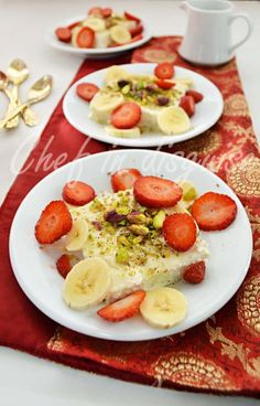 Lebanese nights dessert, a semolina pudding drizzled with rosewater syrup and sprinkled with nuts and sliced fruits