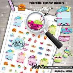 Meal Planner Stickers Printable Planner Stickers by LetsPaperUp