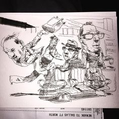Unsuccessful airport distraction on the way to visit Jack Unruh. Will happily and specifically relay any and all sentiments and wishes . If a private thought is preferred  feel free to send it to me in a FB message and I promise to pass it along as well.#jackunruh #illustration #sketchbook #drawing by johncuneo3