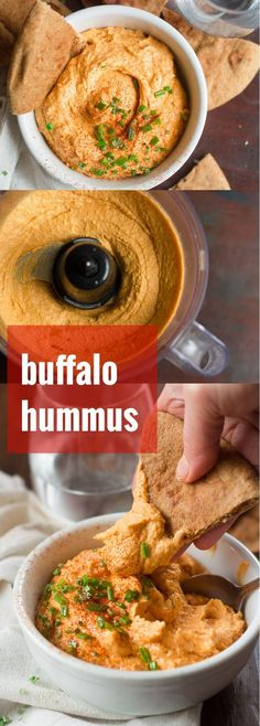Creamy, garlicky hummus gets a kick, with the addition of spicy Buffalo sauce! This Buffalo hummus is perfect for game day (or any day) snacking! is part of Buffalo hummus - Healthy Superbowl Snacks, Vegan Snacks, Game Day Snacks, Vegan Foods, Diet Foods, Tartiflette Recipe, Whole Food Recipes, Cooking Recipes, Vegetarian Recipes