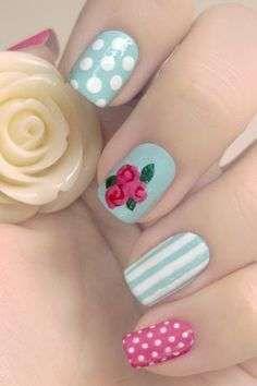 Fancy Nail Art, Dot Nail Art, Floral Nail Art, Fancy Nails, Diy Nails, Pretty Nails, Aqua Nails, Nail Nail, Rose Nails