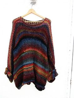 Multicolor loose knit sweater, knit oversize sweater