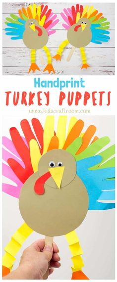 Thanksgiving Handprint Turkey Puppets: a fun way to keep the kids entertained this holiday. Such a fun Thanksgiving craft to make and you can write thankful notes on the tail feathers too. Thanksgiving Arts And Crafts, Thanksgiving Activities For Kids, Fall Crafts For Kids, Holiday Crafts, Craft Kids, Thanksgiving Turkey, Girl Craft, Thanksgiving Cookies, Thanksgiving Wreaths