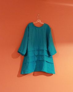 plus size's favorite handmade eco linen 3 pleats  tunic by annyschooecoclothing