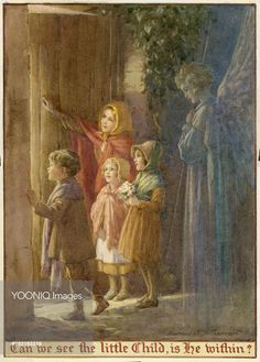 'Can we see the little Childà'. Christmas card.  Margaret Tarrant
