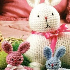 Crochet Easter Bunny Mother & Babies Toy Doll Patterns
