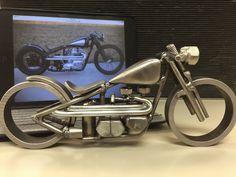 Harley sportster bobber with ape hangers welded motorcycle sculpture Welding Art Projects, Welding Crafts, Metal Art Projects, Recycled Metal Art, Scrap Metal Art, Metal Shaping, Car Part Furniture, Sculpture Metal, Steel Art