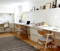 Basement Work Space. A streamlined office is ideal for smaller spaces. A solid stretch of durable Staron countertop from Ikea runs the length of the workspace to create a generous, seamless surface. Old-school filing cabinets serve as dividers, while slender white oak office chairs keep the look light.