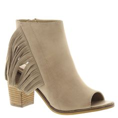 Very Volatile Women's Poca Dress Sandal, Taupe, 8 B US. Asymmetrical fringe detail. Padded insole. Comfortable heel. Stacked leather heel.