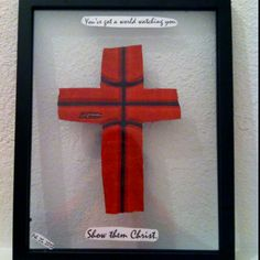 Great gift or home decor idea! Cut a cross out if the side of a basketball or football, pick a verse or saying, an put it in a frame! Looks awesome and everyone will love it!
