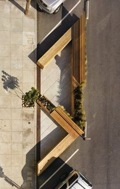 Triangular Public Seating : Noriega Street Parklet                                                                                                                                                                                 More #Streetfurniture #LandscapingSketch