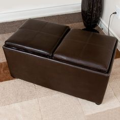 $129.99 The Avalon Three Piece Rectangular Storage Ottoman comes with two nested ottomans and two serving trays. This practical unit can transform from one rectangular ottoman used for seating or as a footrest, into three separate ottomans. The flip top serving trays are extra convenience for those cozy nights at home in front of the TV.