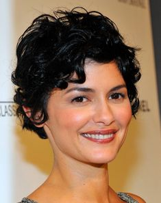 I wish i could pull this off! Actress Audrey Tautou shows how lovely curls can look with a shaggy pixie cut Short Haircuts Curly Hair, Short Curly Pixie, Long Curly Hair, Short Hair Cuts, Curly Hair Styles, Shaggy Pixie, Pixie Haircut, Pixie Cuts, Curled Pixie