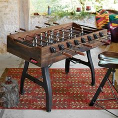 In addition to hours of fun, this classic foosball table offers a distinctive, beautiful piece for your home. Reclaimed Wood Table Top, Reclaimed Furniture, Antique Furniture, Furniture Ideas, Shuffleboard Table, Table Football, Game Room Basement, Basement Ideas, Playroom